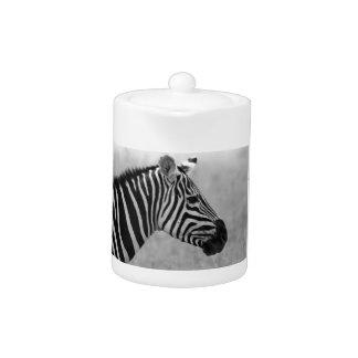 Beautiful wild black and white zebra design teapot