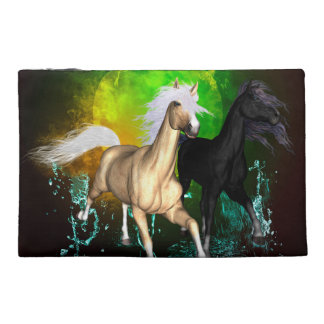 Beautiful wild horses with green, balck background travel accessories bag