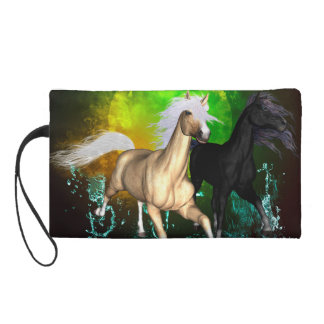 Beautiful wild horses with green, balck background wristlet