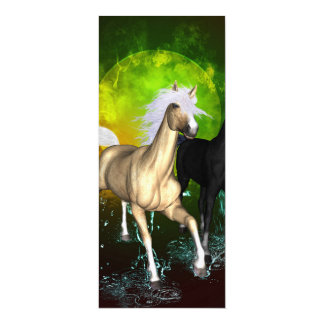 Beautiful wild horses with green, balck background 4x9.25 paper invitation card
