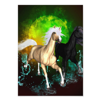 Beautiful wild horses with green, balck background 5x7 paper invitation card