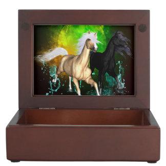 Beautiful wild horses with green, balck background keepsake boxes