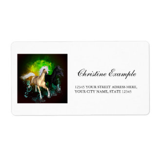 Beautiful wild horses with green, balck background shipping label