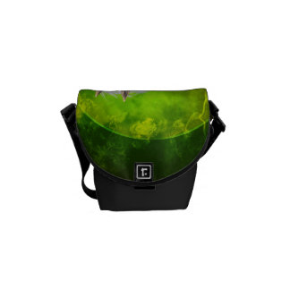 Beautiful wild horses with green, balck background messenger bags