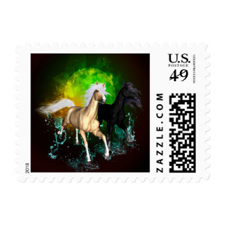 Beautiful wild horses with green, balck background postage stamps