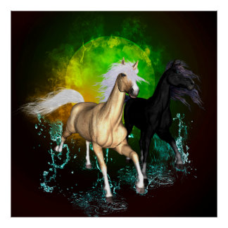Beautiful wild horses with green, balck background poster
