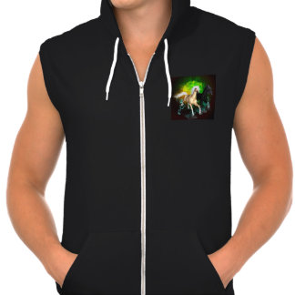 Beautiful wild horses with green, balck background hooded pullovers