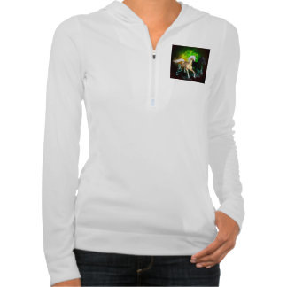 Beautiful wild horses with green, balck background pullover