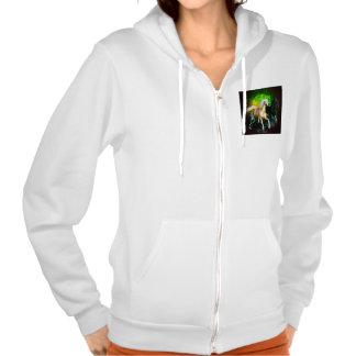 Beautiful wild horses with green, balck background hooded sweatshirts
