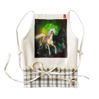 Beautiful wild horses with green, balck background zazzle HEART apron