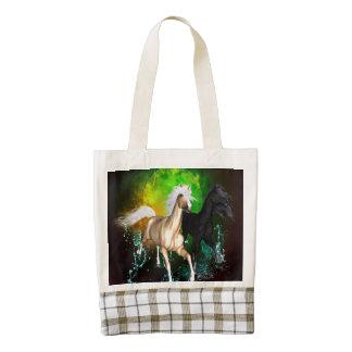 Beautiful wild horses with green, balck background zazzle HEART tote bag