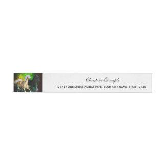 Beautiful wild horses with green, balck background wraparound address label