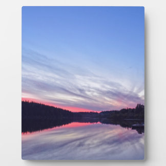 Beautiful Wilderness Sunset over Lake Photo Photo Plaques