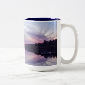 Beautiful Wilderness Sunset over Lake Photo Two-Tone Coffee Mug