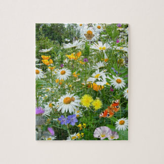 Beautiful Wildflower and Butterfly Meadow Puzzle