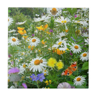 Beautiful Wildflower and Butterfly Meadow Ceramic Tiles