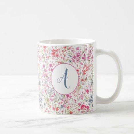 Beautiful Wildflower Watercolor Pattern Monogram Coffee Mug