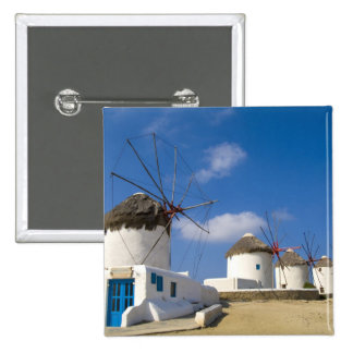 Beautiful windmills on the island of Mykonos, 2 Inch Square Button