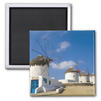 Beautiful windmills on the island of Mykonos, 2 Inch Square Magnet