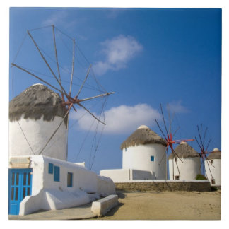 Beautiful windmills on the island of Mykonos, Large Square Tile