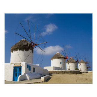 Beautiful windmills on the island of Mykonos, Poster
