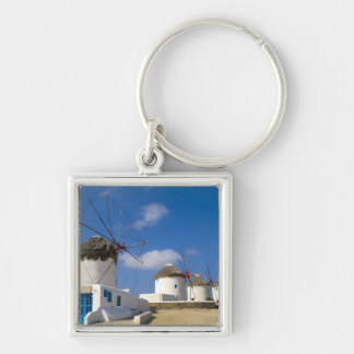 Beautiful windmills on the island of Mykonos, Silver-Colored Square Keychain