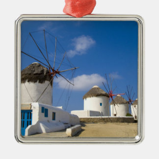 Beautiful windmills on the island of Mykonos, Square Metal Christmas Ornament