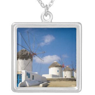 Beautiful windmills on the island of Mykonos, Square Pendant Necklace