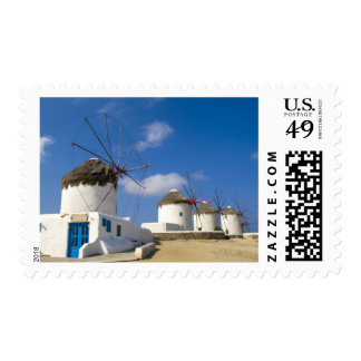 Beautiful windmills on the island of Mykonos, Stamps
