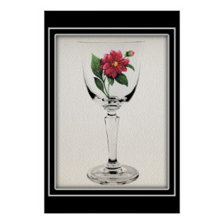 Beautiful Wine Glass with Painted Red Flower Poster