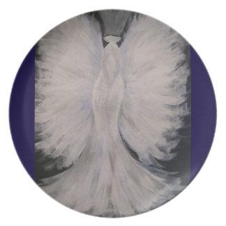 Beautiful Winged Guardian Angel Painting Art Dinner Plate
