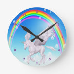 Beautiful Winged Unicorn, Rainbow & Bubbles Clock