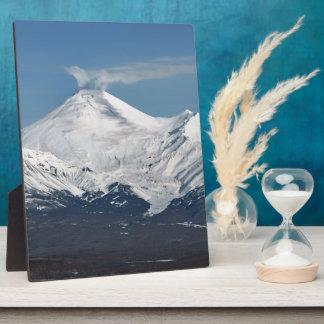 Beautiful winter Avachinsky Volcano in Kamchatka Plaque