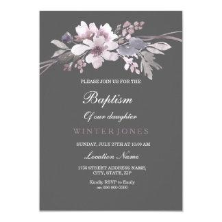 Beautiful Winter Gray Floral Baptism Invitation
