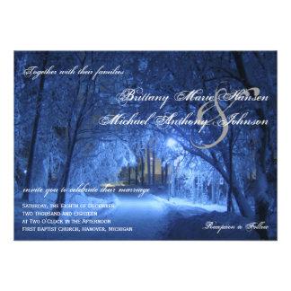 Beautiful Winter Holiday Snow Wedding Invitations