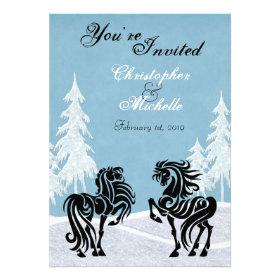 Beautiful Winter Horse Wedding Invitation