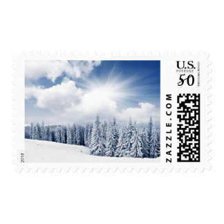 Beautiful Winter Landscape With Snow Postage