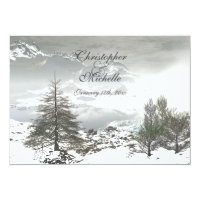 Beautiful Winter Mountain Wedding Invitation