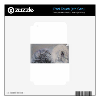 Beautiful winter Old English SheepDog Painting Decal For iPod Touch 4G