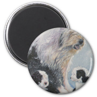Beautiful winter Old English SheepDog Painting Magnet