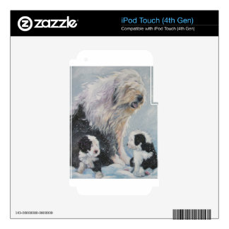 Beautiful winter Old English SheepDog Painting Skins For iPod Touch 4G