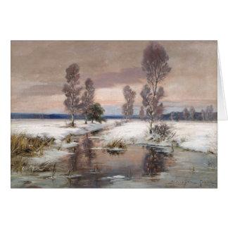 beautiful winter painting greeting card