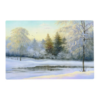 Beautiful Winter Painting Laminated Placemat