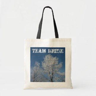 Beautiful  winter snow covered  trees scene tote bag
