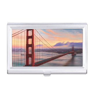 Beautiful winter sunset at Golden Gate Bridge Business Card Case