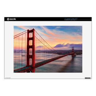 "Beautiful winter sunset at Golden Gate Bridge Decal For 15"" Laptop"