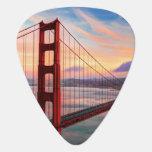 Beautiful winter sunset at Golden Gate Bridge Guitar Pick