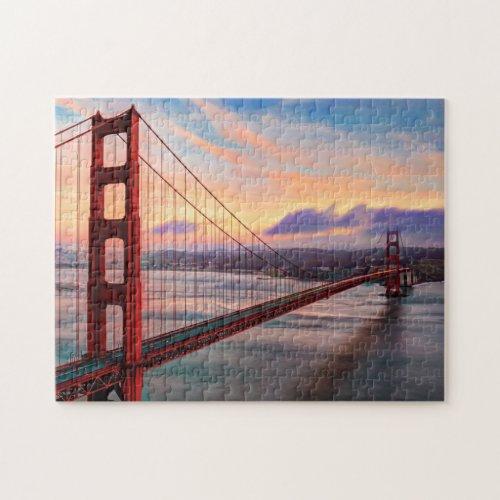 Beautiful winter sunset at Golden Gate Bridge Jigsaw Puzzle