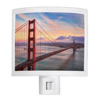 Beautiful winter sunset at Golden Gate Bridge Night Light
