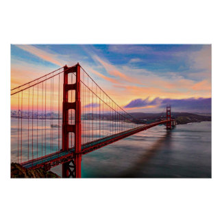 Beautiful winter sunset at Golden Gate Bridge Poster
